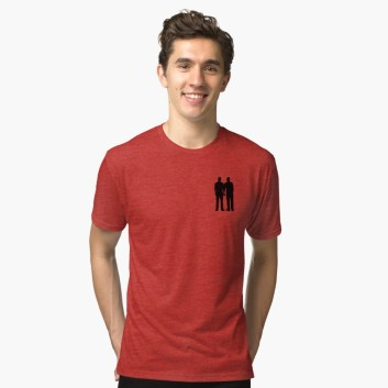 men holding hands, pride shirt